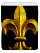 Fleur De Lis In Black And Gold Duvet Cover by Carol Groenen