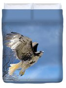 Flight Of The Red Tail Duvet Cover by Bill Wakeley