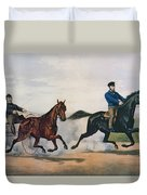 Flora Temple And Lancet Racing On The Centreville Course Duvet Cover by Currier and Ives