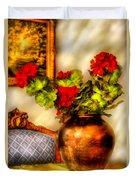 Flower - Geraniums On A Table  Duvet Cover by Mike Savad