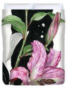 Flower Lily 02 Elena Yakubovich Duvet Cover by Elena Yakubovich