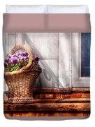 Flower - Pansy - Basket Of Flowers Duvet Cover by Mike Savad