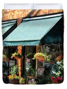 Flower Shop With Green Awnings Duvet Cover by Susan Savad