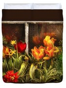 Flower - Tulip - Tulips In A Window Duvet Cover by Mike Savad