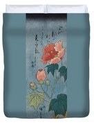 Flowering Poppies Tanzaku Duvet Cover by Ando Hiroshige