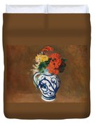 Flowers In A Blue Vase Duvet Cover by Odilon Redon
