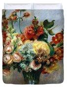 Flowers in a Vase Duvet Cover by Pierre-Auguste Renoir