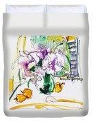Flowers In Green Vase Duvet Cover by Becky Kim