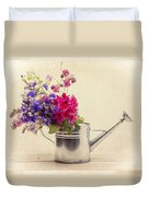 Flowers In Watering Can Duvet Cover by Edward Fielding