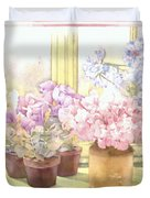 Flowers On The Windowsill Duvet Cover by Julia Rowntree