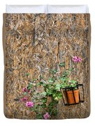Flowers On Wall - Taromina Duvet Cover by David Smith