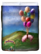 Flying Pig - Child - How I Wish I Were A Bird Duvet Cover by Mike Savad