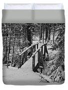 Foot Bridge In Winter Duvet Cover by David Rucker