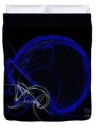 Football Helmet Blue Fractal Art Duvet Cover by Andee Design