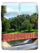 Footbridge In Tuscawilla Park Duvet Cover by Dorothy Menera