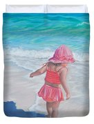 Footprints in the Sand Duvet Cover by Holly Kallie