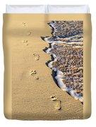 Footprints On Beach Duvet Cover by Elena Elisseeva