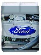 Ford Engine Emblem Duvet Cover by Jill Reger