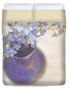 Forget Me Nots In Blue Vase Duvet Cover by Lyn Randle