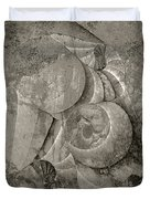 Fossilized Shell - B And W Duvet Cover by Klara Acel