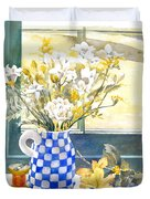 Freesias And Chequered Jug Duvet Cover by Julia Rowntree