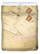 French Correspondence From Ww1 #2 Duvet Cover by Jan Bickerton