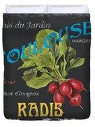 French Veggie Labels 3 Duvet Cover by Debbie DeWitt