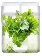 Fresh Herbs In A Glass Duvet Cover by Elena Elisseeva