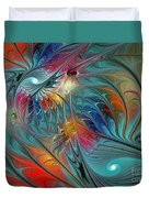 Fresh Mints And Cool Blues-abstract Fractal Art Duvet Cover by Karin Kuhlmann