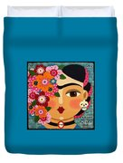 Frida Kahlo With Flowers And Skull Duvet Cover by LuLu Mypinkturtle