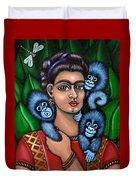 Fridas Triplets Duvet Cover by Victoria De Almeida