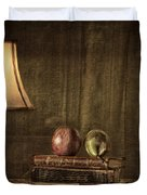 Fruit and Books Duvet Cover by Erik Brede