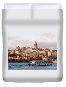 Galata Skyline 03 Duvet Cover by Rick Piper Photography