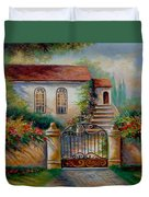 Garden Scene With Villa And Gate Duvet Cover by Gina Femrite