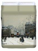 Gare Du Nord Paris Duvet Cover by Eugene Galien-Laloue