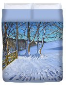 Gate And Trees Winter Dam Lane Derbyshire Duvet Cover by Andrew Macara