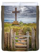 Gate To Holy Island  Duvet Cover by Adrian Evans