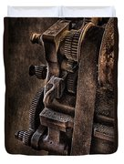 Gears And Pulley Duvet Cover by Susan Candelario