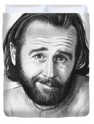 George Carlin Portrait Duvet Cover by Olga Shvartsur