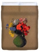 Geraniums And Flowers Of The Field Duvet Cover by Odilon Redon