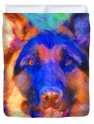 German Shepard - Painterly Duvet Cover by Wingsdomain Art and Photography