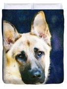 German Shepherd - Soul Duvet Cover by Sharon Cummings