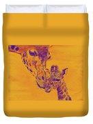 Giraffe Love Duvet Cover by Jane Schnetlage