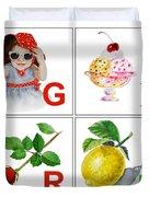 GIRL Art Alphabet for Kids Room Duvet Cover by Irina Sztukowski
