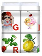 Girl Art Alphabet For Kids Room Duvet Cover by Irina Sztukowski
