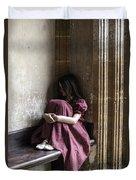 Girl On Pew Duvet Cover by Joana Kruse