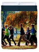 Girls Jogging On An Autumn Day Duvet Cover by Susan Savad