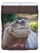 Give Me A Kiss Hippo Duvet Cover by Eti Reid