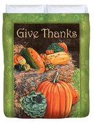 Give Thanks Duvet Cover by Debbie DeWitt