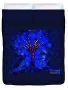 Glow Tree Blue Duvet Cover by Pixel Chimp